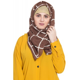 Designer cotton Grid hijab- Brown