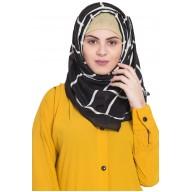 Designer cotton Grid hijab- Black