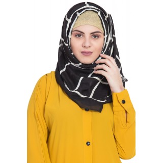 Designer cotton Grid hijab- Black