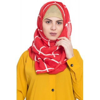 Designer cotton Grid hijab- Red