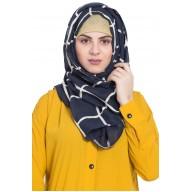 Designer cotton Grid hijab- Blue