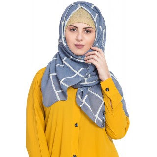Designer cotton Grid hijab- Blue