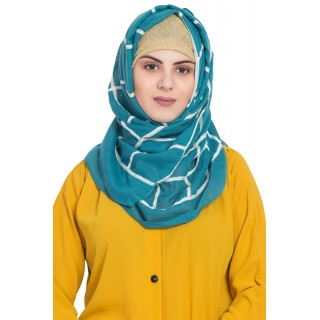 Designer cotton Grid hijab- Green