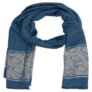 Premium Silk Border Stole-blue