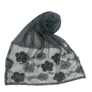 Embroidered cotton hijab with floral design- Dark Grey