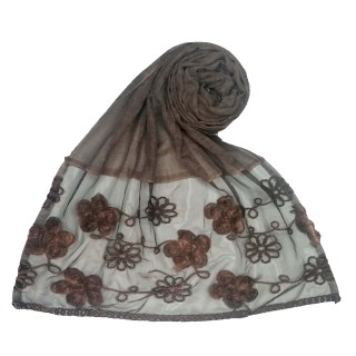Embroidered floral cotton Hijab - Brown