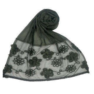 Embroidered floral cotton Hijab - Dark Green