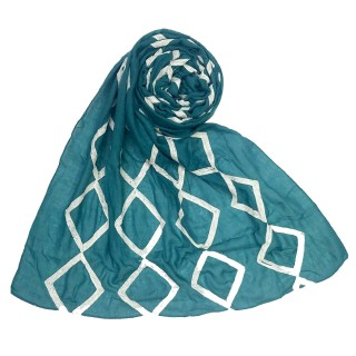 Designer zic zac grid Hijab- Sea Green