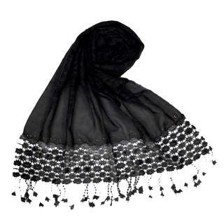 Cotton designer Hijab- Black