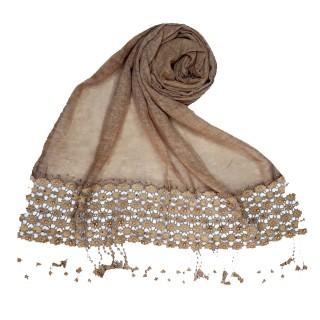 Cotton designer Hijab- Brown