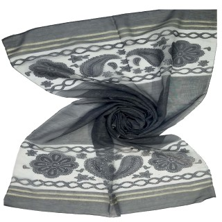 Double sided tissue Hijab - Charcoal Black