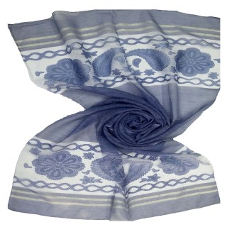 Double sided tissue hijab- Navy Blue