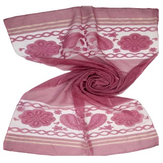 Double sided diamond studded tissue Scarf - Hot Pink