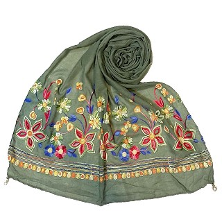 Hand work embroidered Hijab- Green