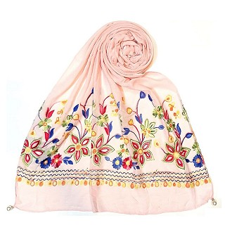Hand work embroidered Hijab- Pink