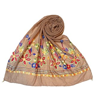 Hand work embroidered Hijab- Light Brown