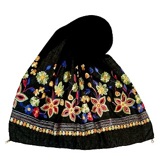Hand work floral embroidered stole- Black