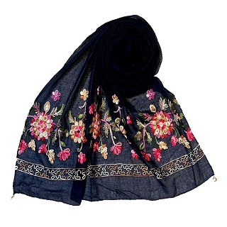Designer hand work flower hijab - Blue