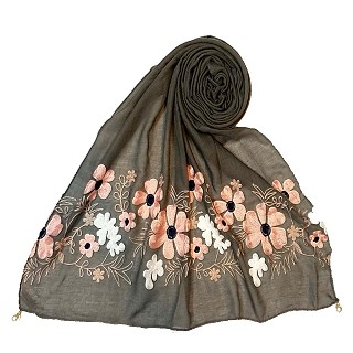 Limited edition embroidered flower hijab - Grey
