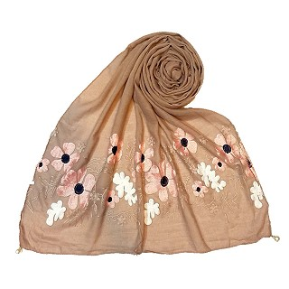 Limited edition embroidered flower hijab - Light Brown