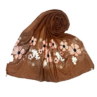 Limited edition embroidered flower hijab - Dark Brown