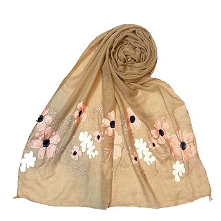 Limited edition embroidered flower hijab - Tortilla Brown