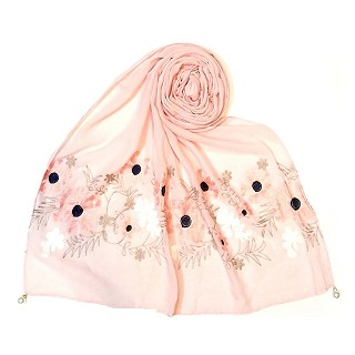 Limited edition embroidered flower hijab - Pink