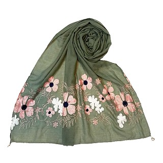 Limited edition embroidered flower hijab - Green