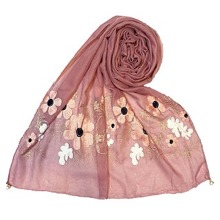 Limited edition embroidered flower hijab - Purple