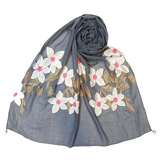Limited edition embroidered flower hijab - Blue