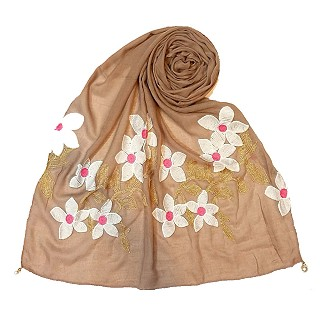 Limited edition embroidered flower hijab - Peanut Brown