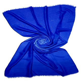 Party Wear Double Shaded Glitter Stole - Royal Blue
