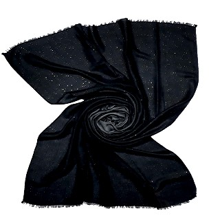 Party Wear Double Shaded Glitter Stole - Coal Black
