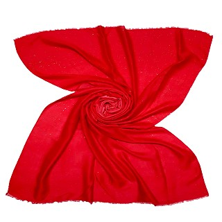Party Wear Double Shaded Glitter Stole - Red