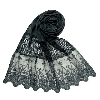 Limited Stock - Designer Diamond Studed Stole | Grey
