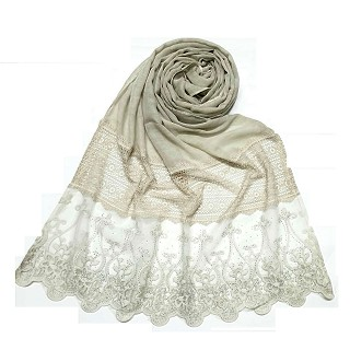 Limited Stock - Designer Diamond Studed Stole | Cream