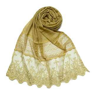 Limited Stock - Designer Diamond Studed Stole | Drak Yellow