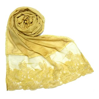 Designer Flower Premium Cotton Hijab - Yellow