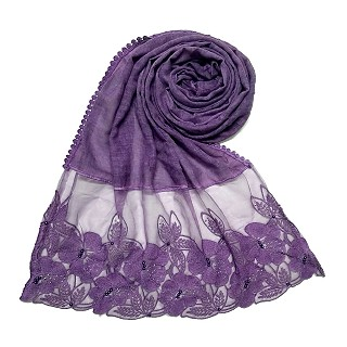 Designer Flower Premium Cotton Hijab - Purple
