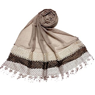 Premium Cotton three liner Hijab - Beige