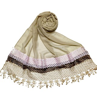 Premium Cotton three liner Hijab - Brown