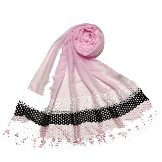 Premium Cotton three liner Hijab - Pink