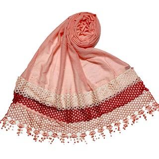 Premium Cotton three liner Hijab - Orange