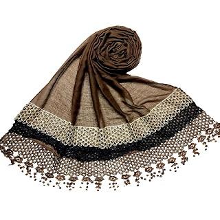 Premium Cotton three liner Hijab - Chocolate Brown