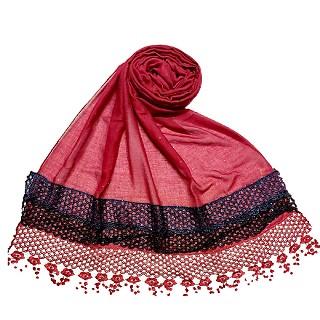 Premium Cotton three liner Hijab - Maroon
