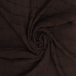 Chiffon Checkered Hijab - Chocolate Brown