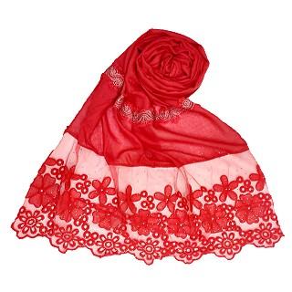 Designer Cotton Flower Bordered Stole - Red