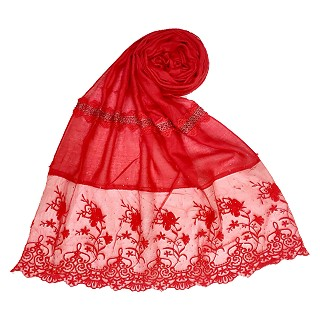 Designer Flower Bordered Cotton Stole - Red