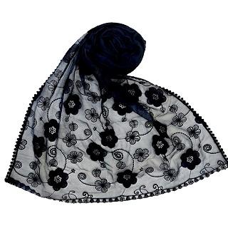 Digital Flower Printed Hijab For Women - Dark Blue