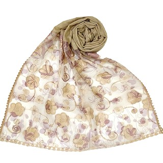 Digital Flower Printed Hijab For Women - Light Brown